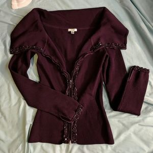 Nwot plum cardigan by Cache